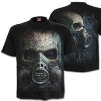 BIO SKULL: beidseitig bedrucktes Cyber Goth T-Shirt mit großem Totenkopf mit Gasmaske
