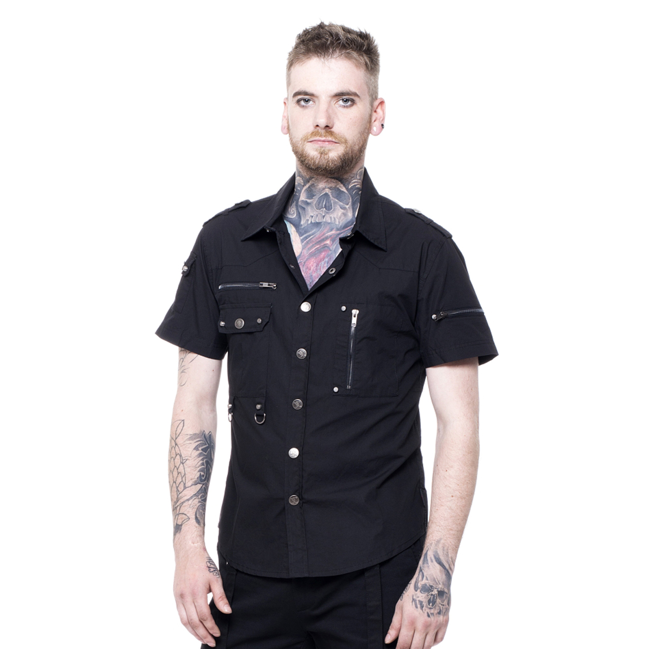 military zipper shirt schwarzes gothic herren hemd. Black Bedroom Furniture Sets. Home Design Ideas