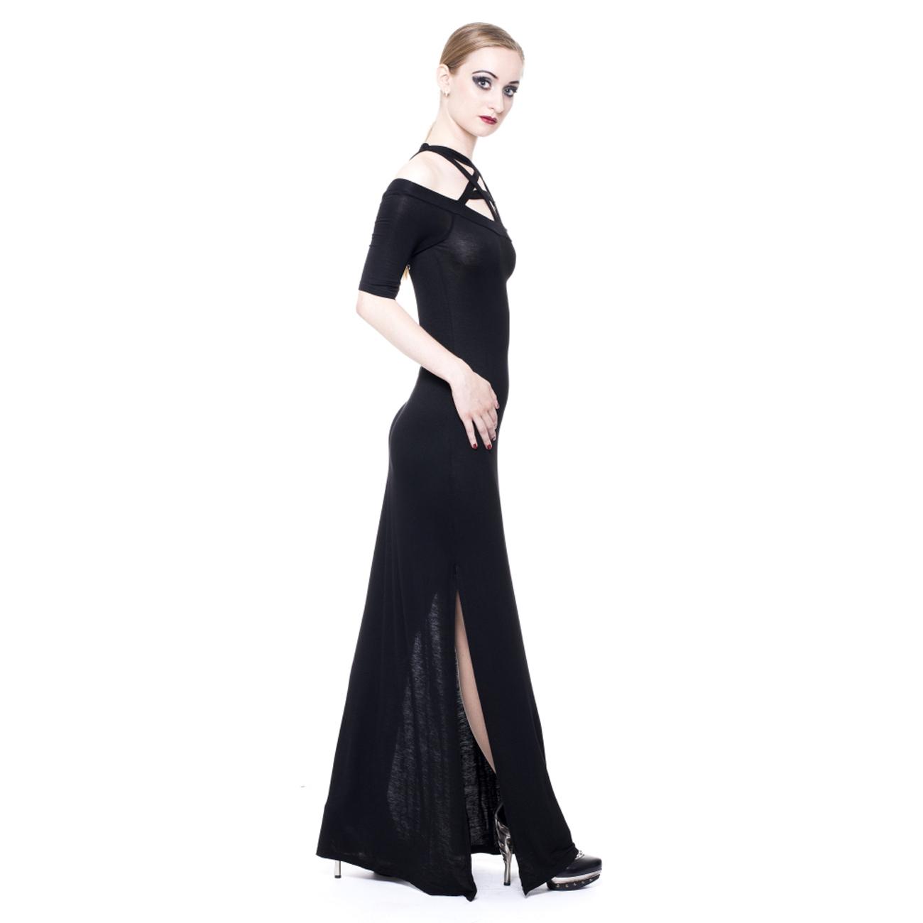 Langes schwarzes jerseykleid