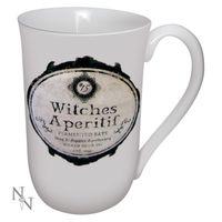 WITCHES APERTIF: große weiße Tasse für Hexen mit Witches Apertif Aufdruck