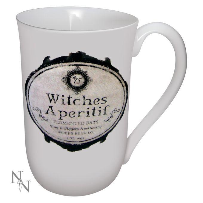 WITCHES APERTIF: weiße Tasse für Hexen mit Schrift