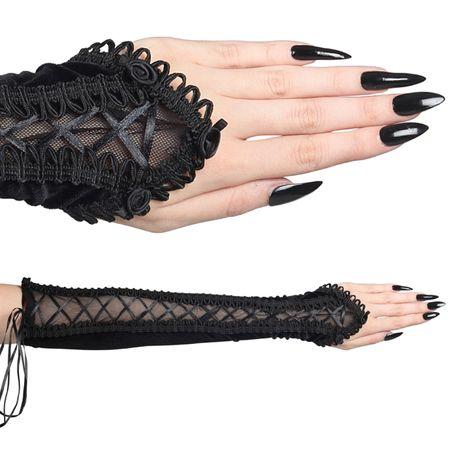 BLACK BONDAGE ARMWARMERS: Armstulpen aus Samt mit Schnürung