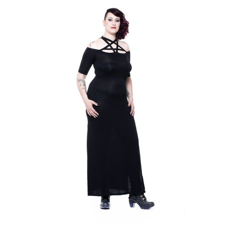 Plus Size - ETERNITY DRESS: langes schwarzes Kleid