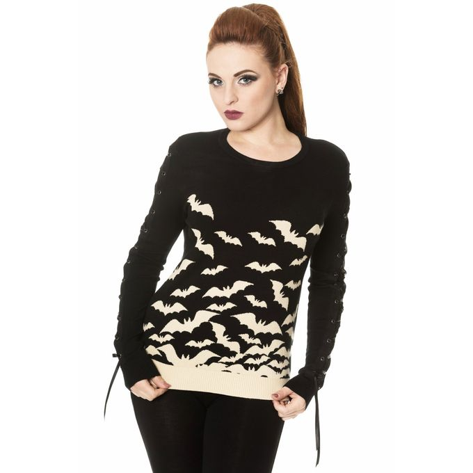 HAUNTED DIVA KNIT JUMPER: Black-Sand