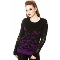 HAUNTED DIVA KNIT JUMPER Purple Pullover von Banned
