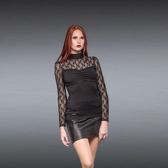 BLACK LACE TOP: schwarzes Damen Langarm Shirt
