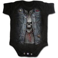 TRASH METAL: schwarzer Babybody mit Print einer Jeanskutte