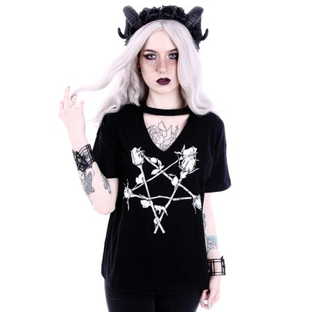 ROSE PENTAGRAM: schwarzes Damen Shirt