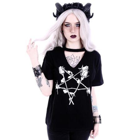 ROSE PENTAGRAM: schwarzes Damen Shirt