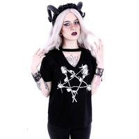 ROSE PENTAGRAM: schwarzes Damen Shirt – Bild 3