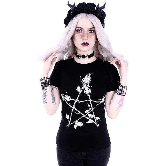 ROSE PENTAGRAM CLASSIC: schwarzes Damen Shirt