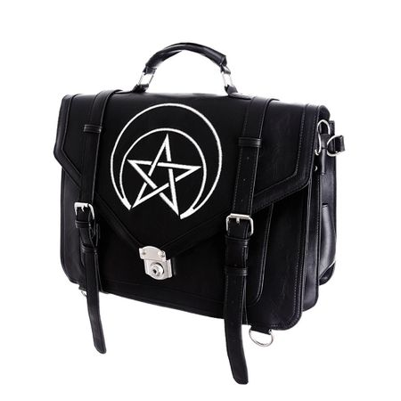 UNHOLY MESSENGER: schwarze Messenger Bag