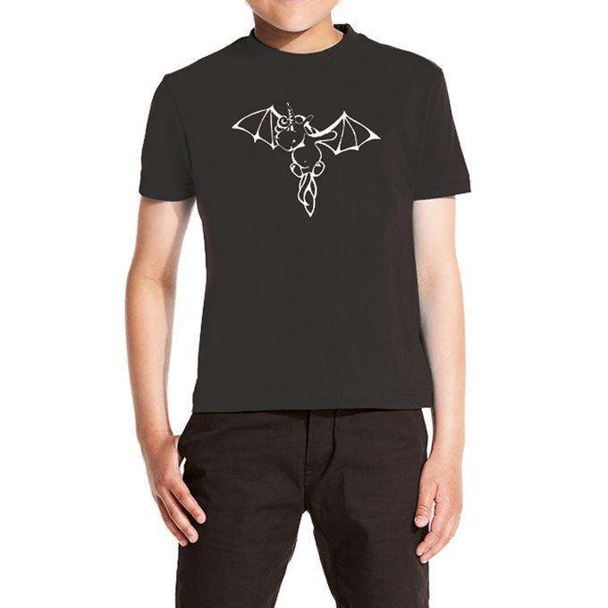 KIDS FLEDERHORN: kurzärmeliges schwarzes Kinder Shirt