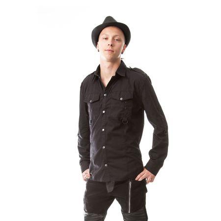 TORN SHIRT: schwarzes langärmeliges Herren Hemd