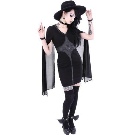 CAPE DRESS: schwarzes kurzes Bleistiftkleid mit Cape