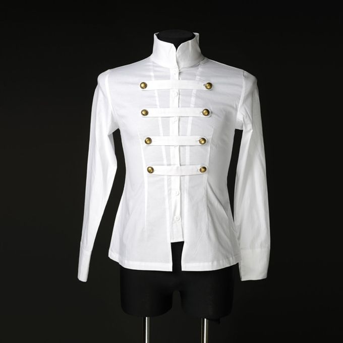 WHITE COTTON NAVAL SHIRT: weißes Herrenhemd 001