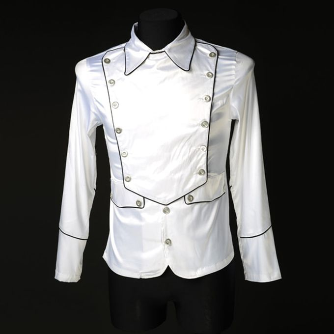 WHITE SATIN MILITARY: weißes Offizier Hemd 001