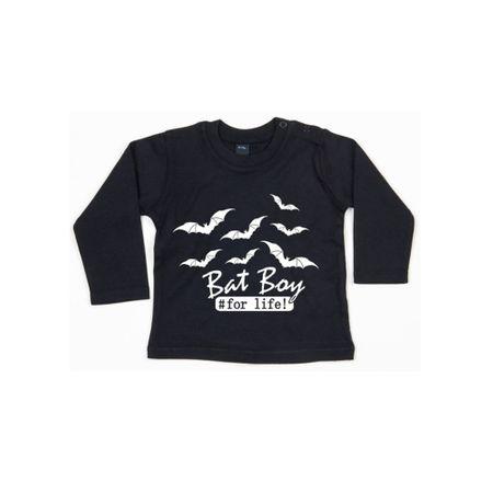 Gothic Baby Print Shirt mit Bat Boy und Fledermaus Print und knöpfbarem Kragen