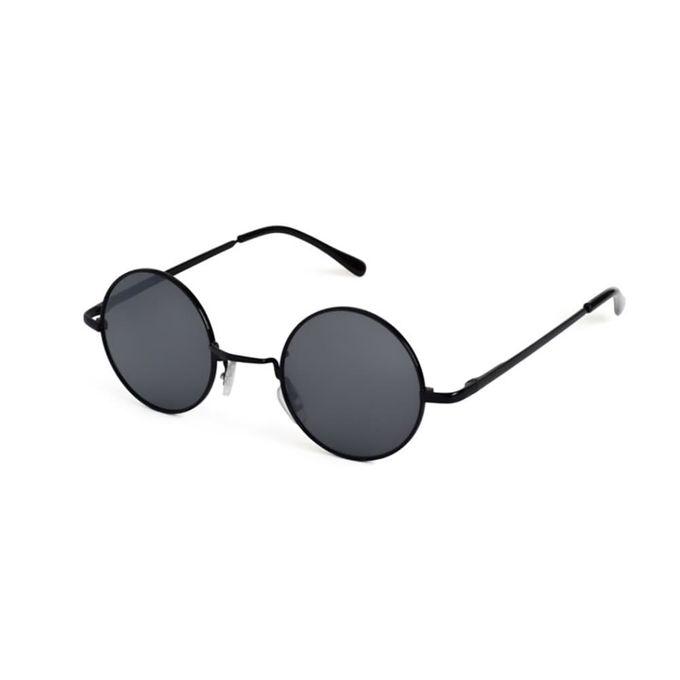 Sonnenbrille mit schwarzen runden Gläsern