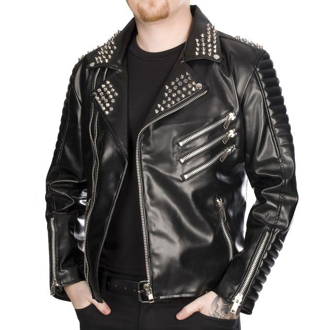 ROCKERS JACKET SKY: schwarze Biker Jacke mit Nieten