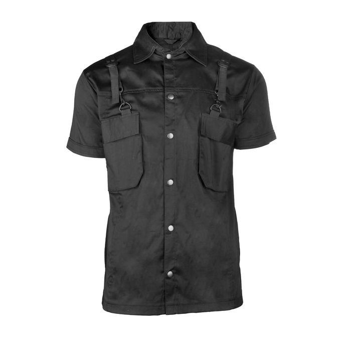 COMBAT SHIRT: schwarzes kurzärmeliges Shirt