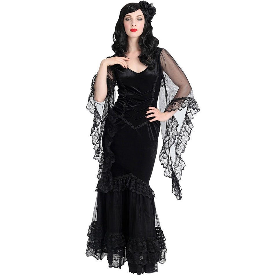 morticia long dress - gothic kleid mit trompetenärmeln