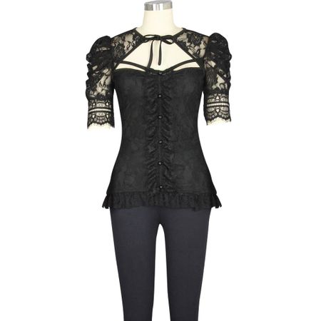 PLUS SIZE: Black Lace Gothic Top