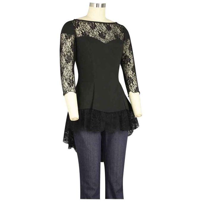 LACY BLACK BLOUSE: schwarze Gothic Bluse
