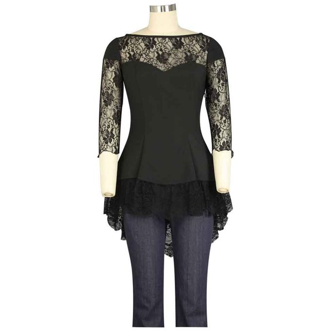 PLUS SIZE: Lacy Black Blouse, Gothic Bluse