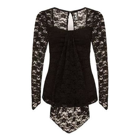 IDUNA DRAPED LACE TOP: Gothic Top aus Spitze