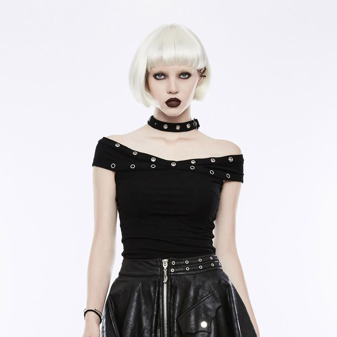 Sinister Girl - Gothic Top mit großen Ösen