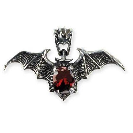 RED BAT, Fledermaus Anhänger, 925 Silber mit Zirkonia