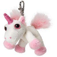 Glubschi Einhorn - Der ca. 12 cm große Bella Backpack Clip ist ein weiß rosa Einhorn Schlüsselanhänger mit großen Augen.