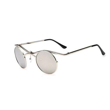 Sonnenbrille mit aufklappbaren, verspiegelten Gläsern