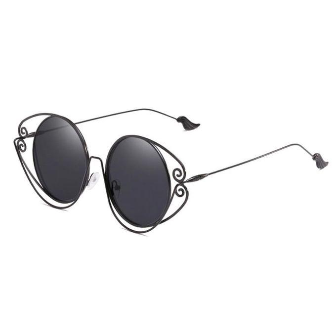 BLACK WING: Sonnenbrille mit großen runden, schwarzen Gläsern