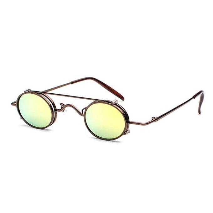 YELLOW STEAMPUNK: Sonnenbrille mit kleinen ovalen Gläsern
