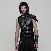 Gothic Harness aus Kunstleder mit Schnallen, Schulterteil und Schnürungen
