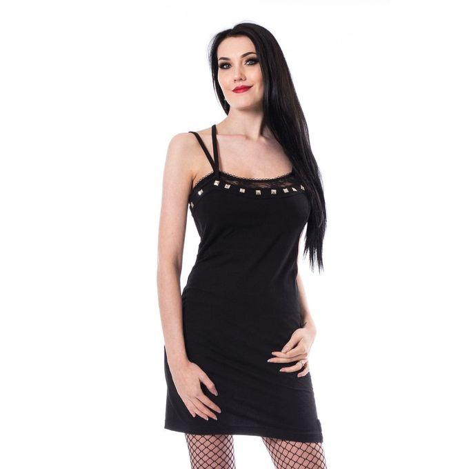 LOVA DRESS: schwarzes kurzes Trägerkleid mit Nieten und Spitze