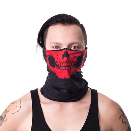 3-in-1 - SNOOD RED: Bandana, Kopftuch, Schal