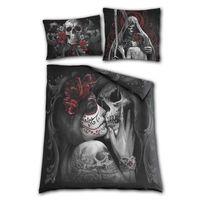 SKULL ROSES: Gothic Bettwäsche, 200 x 200cm mit 4 Kissenbezügen beidseitig bedruckt