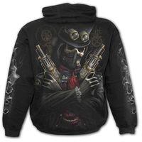 Steam Punk Bandit ist ein schwarzer Kapuzen Pulli für Kinder mit Prints von Skull Und Reaper im Steam Punk Look.