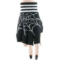 SPIDER GLOVES: fingerlose Handschuhe mit weißem Spinnweben Motiv