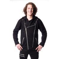 BRANDYN JACKET: schwarze Herren Jacke mit abnehmbarer Kapuze im Biker Stil