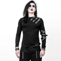 VIDAR TOP: schwarzes langärmeliges Herren Shirt mit Bondages und Schnallen