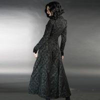 BLACK BROCADE IVES COAT: Damen Brokat Mantel