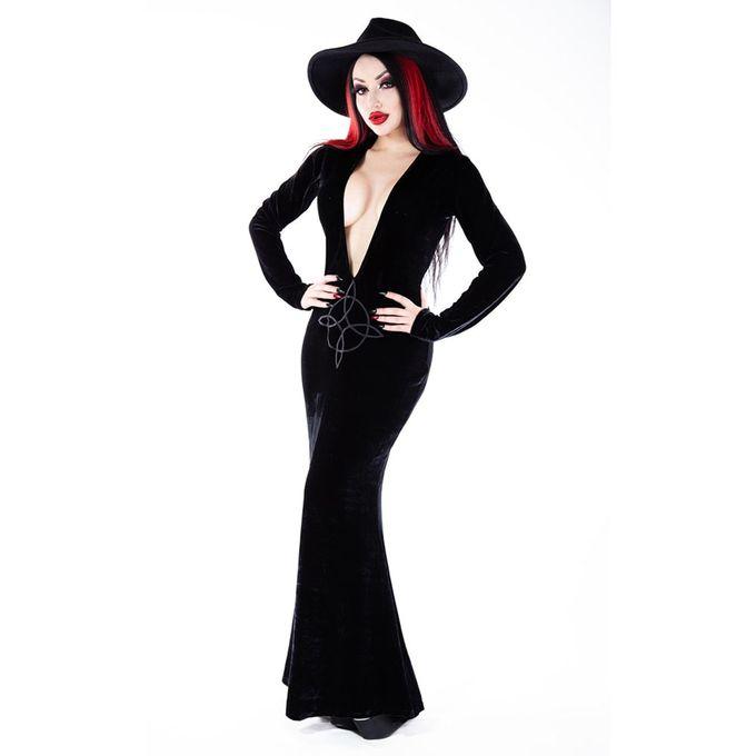 Plunge Diana Dress - langes Gothic Samtkleid