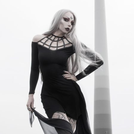 MELAINA SPIDERWEB DRESS: Gothic Minikleid