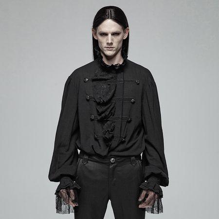 Roque Baroque: Schwarzes Gothic Vampir Hemd