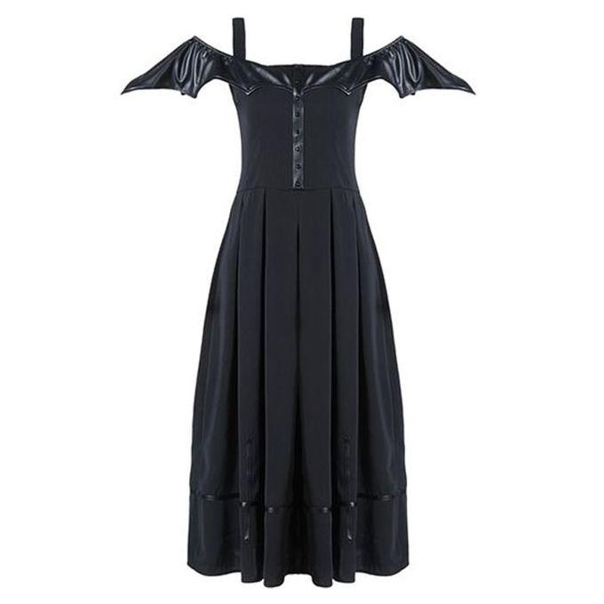 BAT WING MIDI DRESS: knöchellanges Gothic Kleid