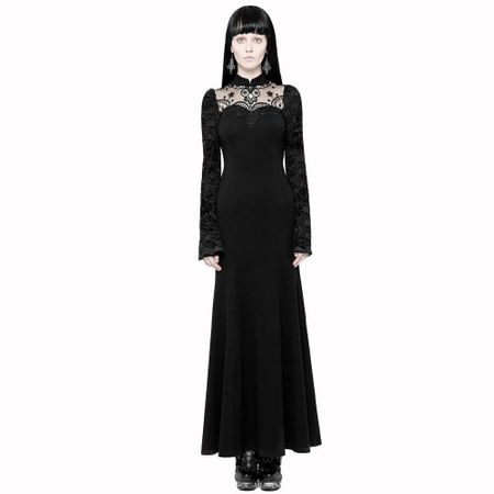 BLACK SOIREE DRESS: langes Gothic Abendkleid